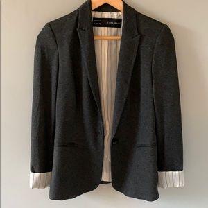 Zara blazer grey with striped lining